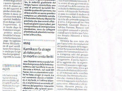 """GDS: PD spaccato, l'area Letta """"sfiducia"""" Genovese"""