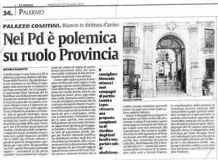 LA SICILIA: nel PD è polemica su ruolo Provincia
