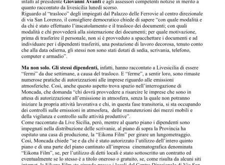 LIVE SICILIA: interrogazioni Moncada