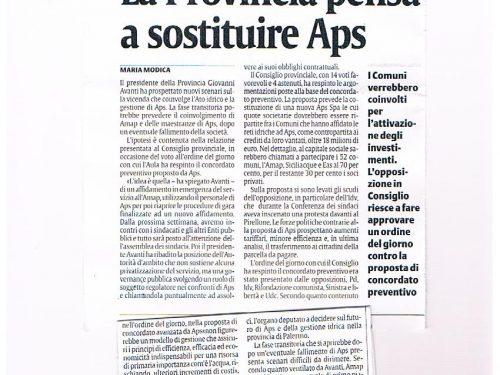 LA SICILIA: la Provincia pensa a sostituire APS