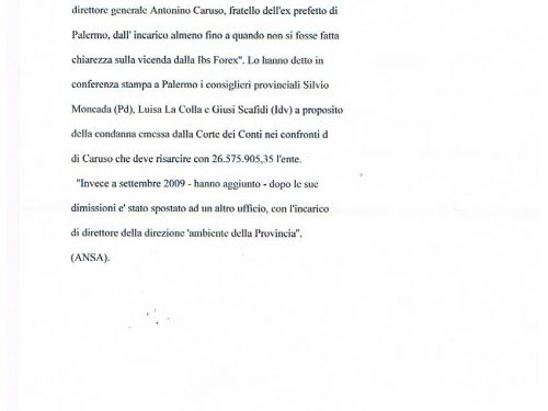 ANSA 1/02/2012: Moncada, per IBS Forex ammanco di 34 Mln