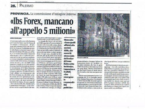 La Sicilia 2/2/2012: Ibs Forex, mancano all'appello 5 milioni