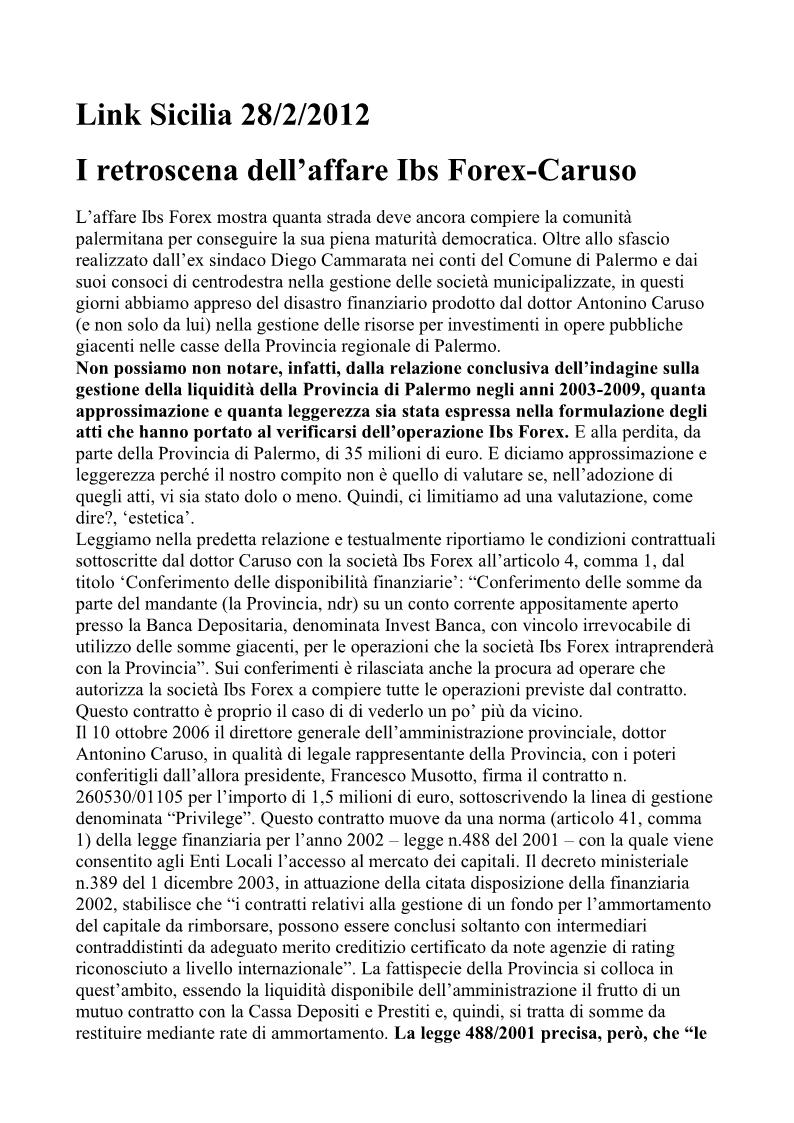 Caruso ibs forex