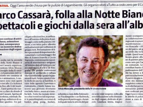 GDS: PARCO CASSARA' SI RIEMPIE DI GIOIA PER LA NOTTE BIANCA
