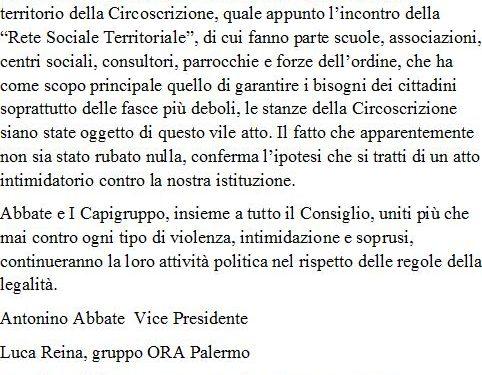 Comunicato Stampa: Vice Presidente e Capigruppo contro atto intimidatorio
