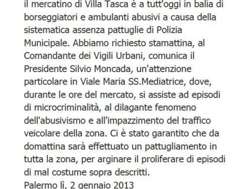 Comunicato Stampa: Richiesta vigilanza mercato Villa Tasca