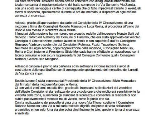 Comunicato Stampa: Realizzazione spartitraffico in via Titone
