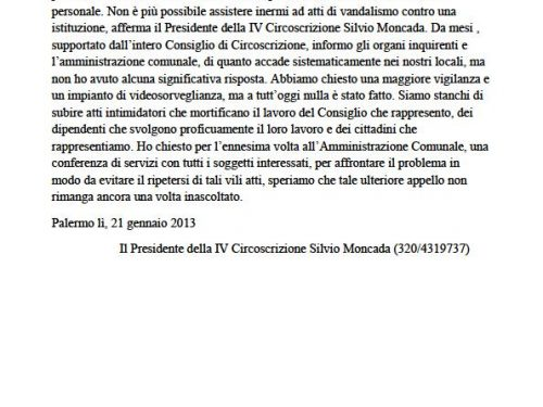 Comunicato Stampa: Ennesimo raid, il Comune intervenga