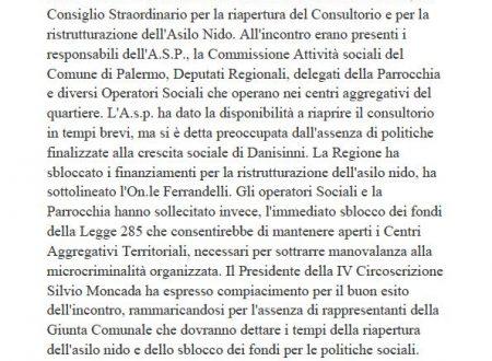 Comunicato Stampa: Riapertura Consultorio e Asilo Nido Danisinni