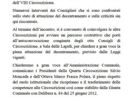 Comunicato Stampa: Consiglio congiunto IV-VIII Circoscrizione