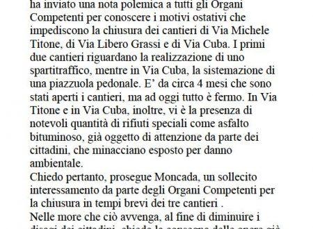 Comunicato Stampa: Blocco cantieri via Titone, Grassi e Cuba