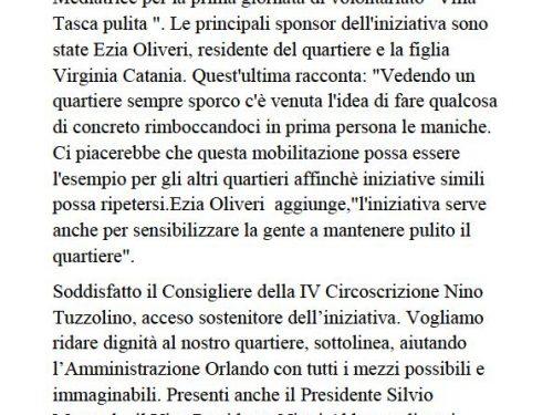 Comunicato Stampa: Ripulita Villa Tasca