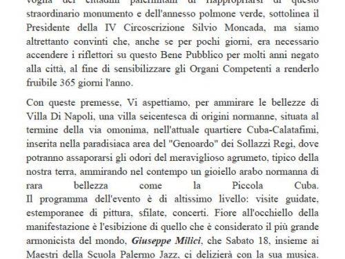 Comunicato Stampa: La IV Circoscrizione riapre Villa Napoli