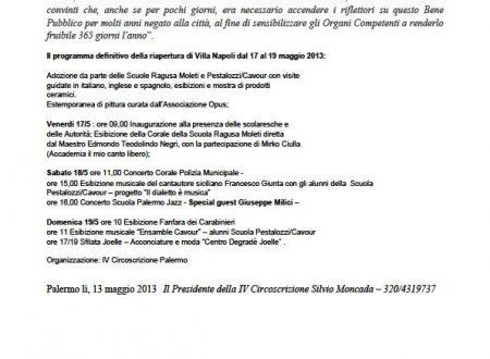 Comunicato Stampa: Tre giorni di iniziative a Villa Napoli