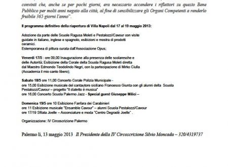 Comunicato Stampa: Villa Napoli, tre giorni d'iniziative