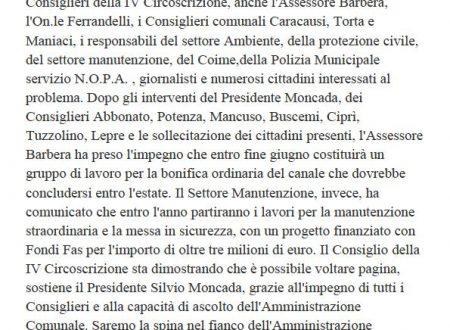 Comunicato Stampa: Consiglio Straordinario su problematiche Canale Boccadifalco
