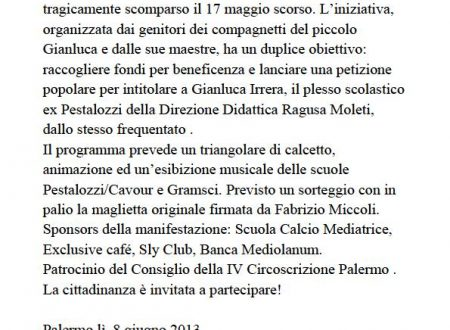 Comunicato Stampa: Primo Memorial Gianluca Irrera
