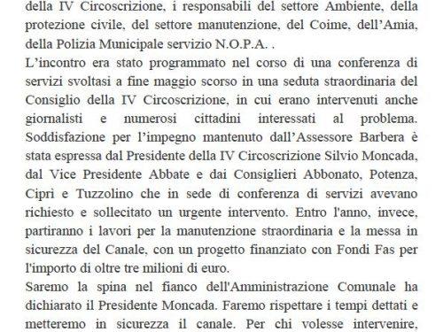 Comunicato Stampa: Sopralluogo per bonifica Canale Boccadifalco