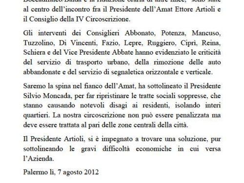 Comunicato Stampa: Il presidente dell'Amat Artioli alla IV Circoscrizione