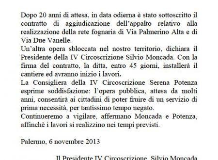 Comunicato Stampa: Firma contratto via Palmerino-Due Vanelle