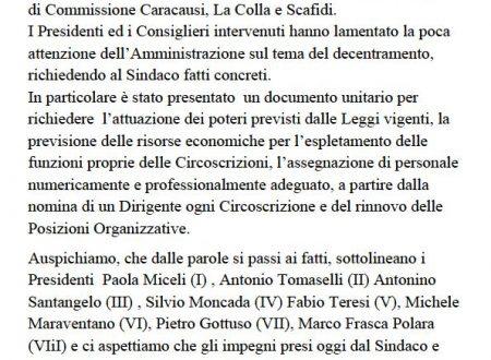 Comunicato Stampa: Presentato documento unitario dai presidenti delle otto circoscrizioni