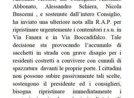 Comunicato Stampa: Ripristino cassonetti Via Fanara