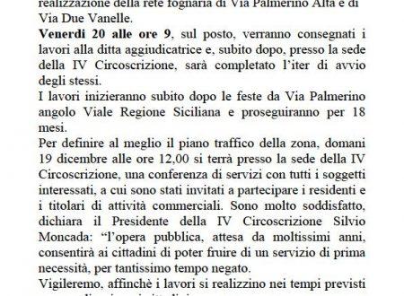 Comunicato Stampa: Avvio lavori fognatura Via Palmerino-Due Vanelle