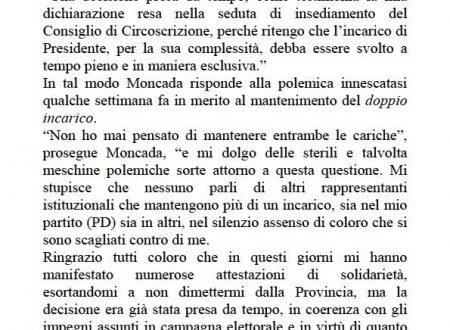 Comunicato Stampa: Moncada presenta dimissioni da consigliere provinciale