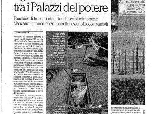 """Repubblica 7 febbraio: """"Piazza Indipendenza, il giardino devastato tra i palazzi del potere"""""""